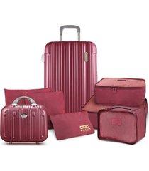 conjunto de mala e frasqueira de viagem trip prata com kit organizador de malas de 6 peças jacki design vinho
