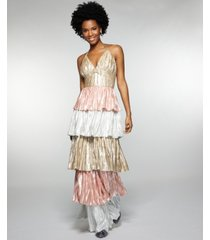 betsey johnson tiered metallic gown
