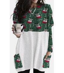 camicetta casual da donna a maniche lunghe con tasche patchwork con stampa natalizia