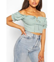 bandage peasant crop top, sage