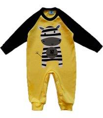 macacã£o zebrinha manabana beb㪠top  amarelo - amarelo - algodã£o - dafiti