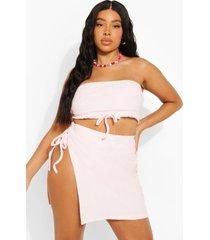 plus badstoffen strapless bikini top, pastel pink