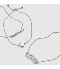 lane bryant women's 3-row heart & love adjustable bracelet set onesz silver