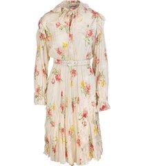 balenciaga pink vintage flower off shoulder dress