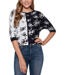belldini black label boat neck floral colorblocked sweater