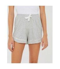 short de pijama em viscolycra com amarração na cintura e viés contrastante | lov | cinza | gg