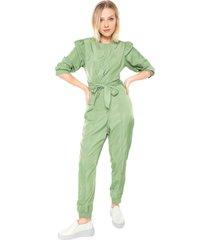 macacã£o colcci jogger drapeados verde - verde - feminino - poliã©ster - dafiti