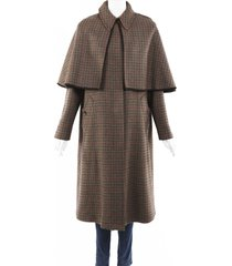 etro houndstooth wool cape coat black/brown sz: m