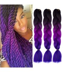3tone ombre color jumbo braids synthetic hair extensions 3pcs/lot 24inches