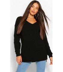 tall long line trui met v-hals, zwart