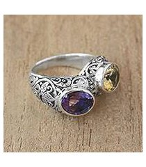 amethyt and citrine cocktail ring, 'sacred wood' (indonesia)