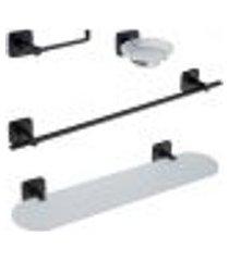 conjunto banheiro toalheiro papeleira porta shampoo saboneteira vesúvio preto