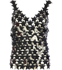 paco rabanne top tank star metal paillettes