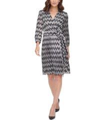 jessica howard zigzag-print tie-waist a-line dress