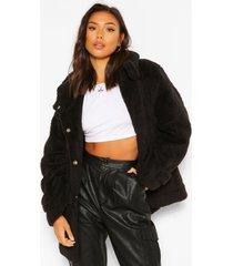 oversized faux fur teddy parka met capuchon, zwart