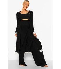 zwangerschap borstvoeding pyjama set met broek, ochtendjas en kanten zoom, black