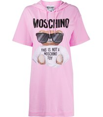 moschino teddy bear-print hooded t-shirt dress - pink