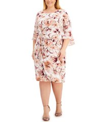 connected plus size gathered-waist 3/4-sleeve sheath dress