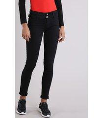 calça de sarja feminina sawary super skinny preta