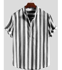 collar de pie con rayas delanteras con botones para hombres camisa