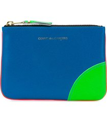 comme des garçons wallet colour-block zipped wallet - blue