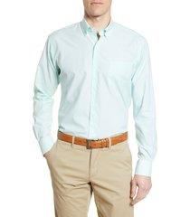 men's peter millar brenton regular fit gingham check button-down shirt, size x-large - green