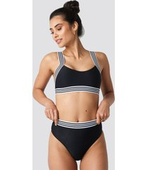 hannalicious x na-kd striped elastic structured bikini pantie - black