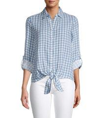 beach lunch lounge women's yumi cotton shirt - blue - size xs
