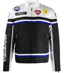 versace logo patch motorcycle jacket - black