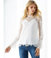 yoins white stand collar lace with lining blouse