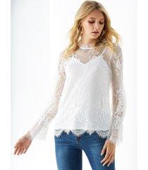 yoins blusa de encaje de cuello alto blanco con forro