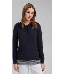 sweater mujer texturado con capucha azul marino esprit