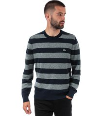 mens crew neck striped cotton and linen sweatshirt