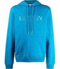 lanvin embroidered-logo drawstring hoodie