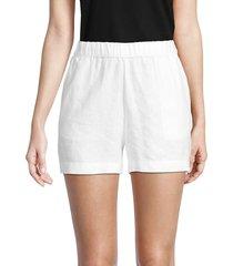 saks fifth avenue women's linen shorts - white - size m