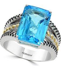 effy 18k yellow gold, sterling silver & blue topaz ring - size 7