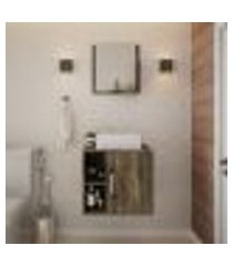 conjunto para banheiro gabinete com cuba q32 e espelheira soft 500 carvalho dark