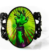 walking living dead zombie hand glass horror halloween adjustable filigree ring