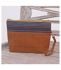 cotton clutch wristlet, 'lurik parade brown' (indonesia)