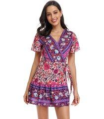 vestido estampado de playa deep v para mujer - violeta