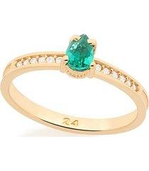 anel com zircônias e pedra esmeralda rommanel