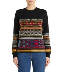 etro santa barbara stripe jacquard metallic wool blend sweater, size 8 us in multicolor at nordstrom