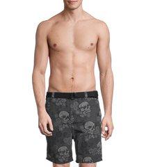 john varvatos men's atwater skull-print swim shorts - black - size 34