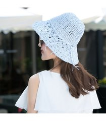 sombrero para mujer, hecho a mano paja ganchillo sra.-verde
