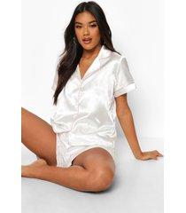 satijnen pyjama set met contrasterende biezen en shorts, crème