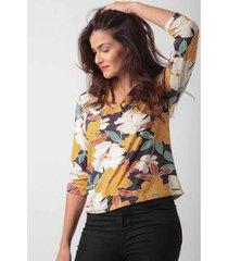 camisa manga 3/4 decote em prega flores do campo ervadoce feminina