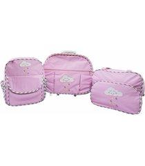 kit adventure baby mala maternidade com rodinhas com mochila rosa nuvem