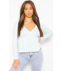 ribbed wrap peplum top, mint