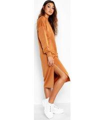 midi sweatshirt jurk met split, kameel