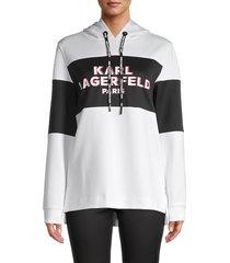 karl lagerfeld paris women's logo colorblock hoodie - white black - size s